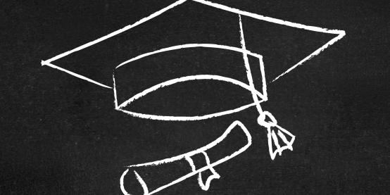 Mortarboard drawn in chalk on a blackboard