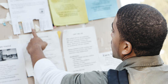 Student looking at notice board