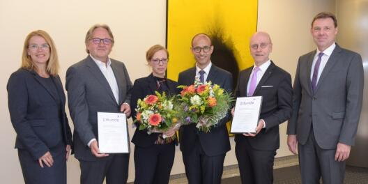 The Universitätsgesellschaft Münster e. V. annually honours outstanding young scientists with a sponsorship award - here the award ceremony 2019.