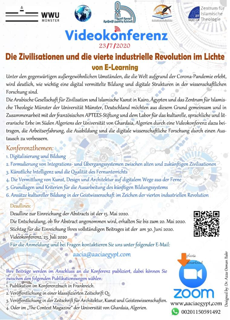 "Text des Call for Papers zur Videokonferenz ""Die Zivilisationen und die vierte industrielle Revolution im Lichte von E-Learning"""