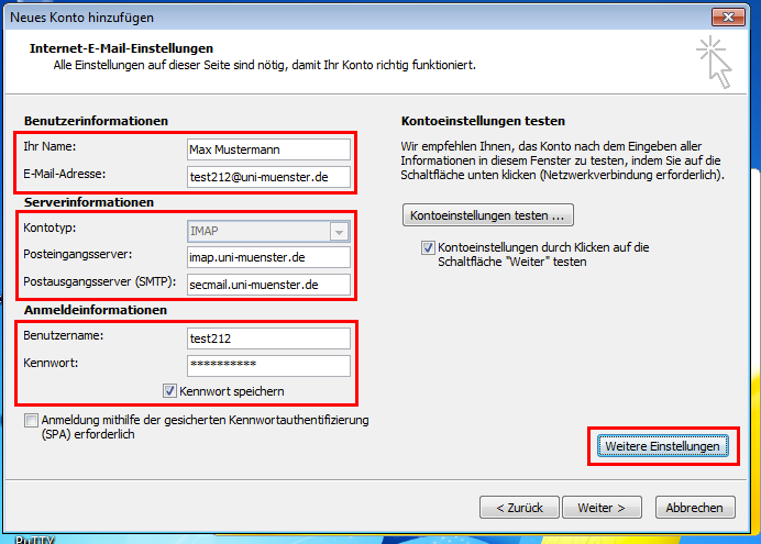 outlook 2010 imap alle mails