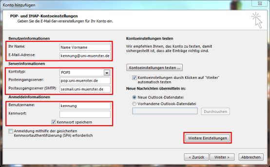 3. Configuration of the E-Mail Account with POP3