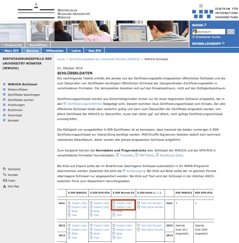 ZIV - Verwendung von Zertifikaten an der WWU
