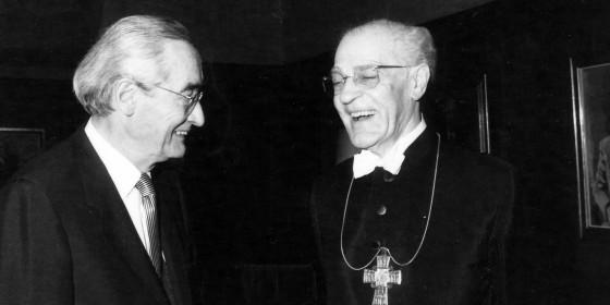 Prof. Kurt Aland und Bischof Hermann Kunst (undatierte Aufnahme)<address>&copy; WWU - INTF</address>