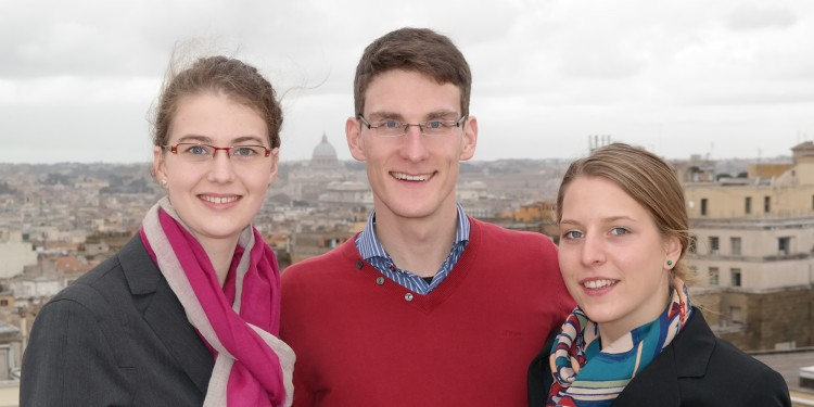The project team in Rome (from left): Sarah Delere, Tobias and Anna Roth<address>© Münster University – private source</address>