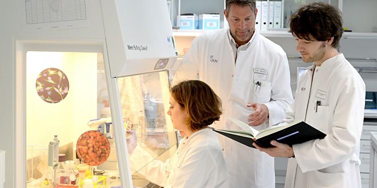 Dr. Catharina Groß, Prof. Heinz Wiendl und Dr. Andreas Schulte-Mecklenbeck bei der Arbeit im Labor