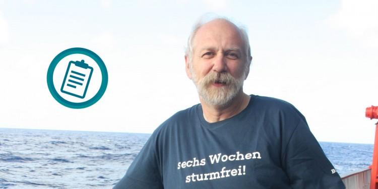 Prof. Dr. Harald Strauß an Bord der SONNE<address>&copy; Marie Heidenreich/Projektträger Jülich; Icon: colourbox.de/Ivan Ryabokon</address>