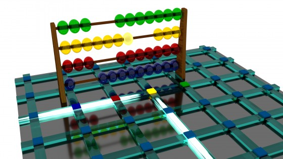 Illustration of a chip-scale optical abacus with integrated optical waveguides. The memory cells are located at the crossings. The abacus is shown for demonstration – the colours of the digits are reflected in four of the memory cells.<address>&copy; WWU/Johannes Feldmann</address>
