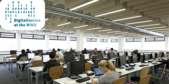 Researching literature at Münster University Library. Digitalisation and the Internet are bringing about numerous changes for universities.<address>&copy; WWU/Julia Holtkötter</address>