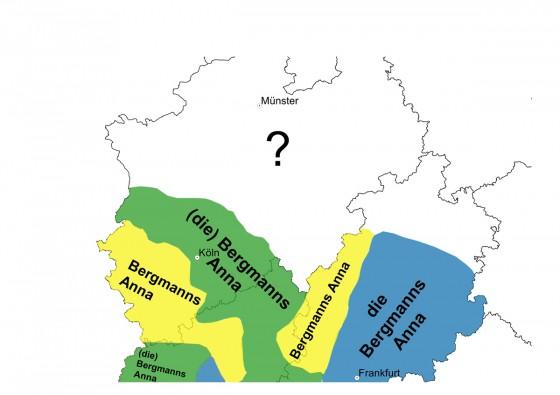 Übersichtskarte verschiedener Dialektnamen<address>© Antje Dammel</address>