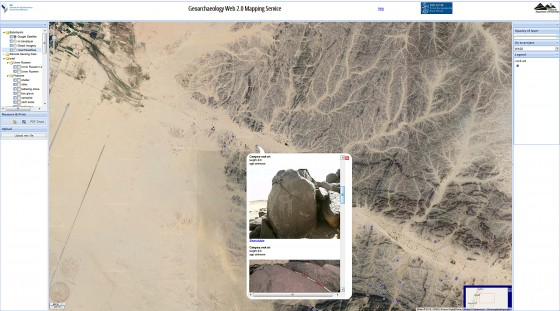 Anyone interested can take a look at various pictures, including rock formations which, as can be seen in this photo, depict cattle.<address>© Münster University/W.A.D.I.; screenshot</address>