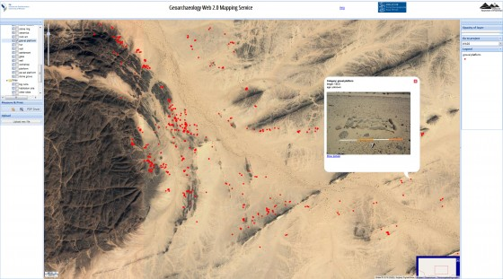 Squares lined with stones and filled with gravel, and with mats or palm leaves as a bed, served as sleeping places in the Bayuda Desert in Sudan. The large number of dots shows the high frequency of these beds.<address>&copy; Münster University/W.A.D.I.; screenshot</address>