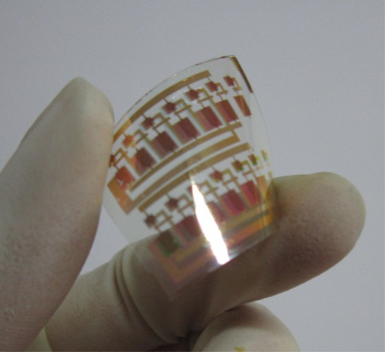 Ein flexibler Schaltkreis wird auf seine Biegsamkeit getestet.<address>© Ji Deyang</address>