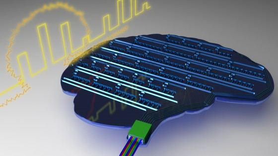 Schematic illustration of a light-based, brain-inspired chip. By mimicking biological neuronal systems, photonic neuromorphic processors provide a promising platform to tackle challenges in machine learning and pattern recognition.<address>&copy; Johannes Feldmann</address>