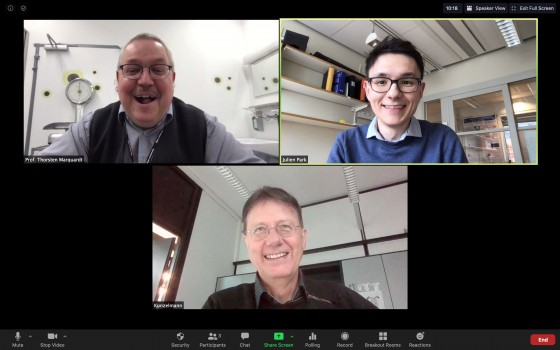 Due to the Covid-19 pandemic, researchers collaborate remotely. However, Prof. Thorsten Marquardt, Dr. Julien Park and Prof. Karl Kunzelmann (clockwise, starting top left) keep up their good spirits.<address>© Screenshot: J. Park</address>