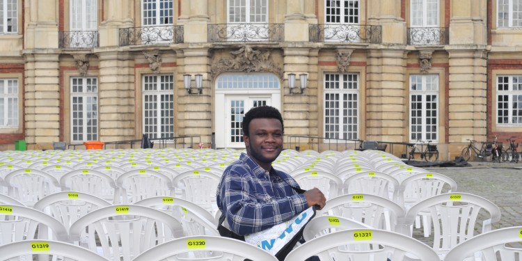 "Maganga Moussavou Yoan, 23, from Gabon in west Africa is one of just two students who are currently at the University of Münster on the basis of the ""Erasmus with Partner Countries"" programme.<address>© WWU - Brigitte Heeke</address>"