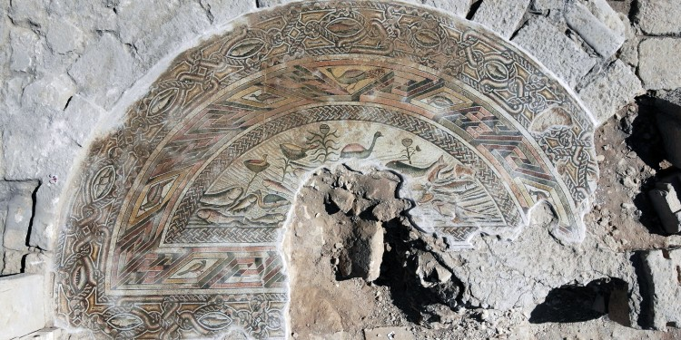 The mosaic floor of the basilica shows a river landscape with fish, birds and plants, all depicted in great detail.<address>© WWU - Asia Minor Research Centre</address>
