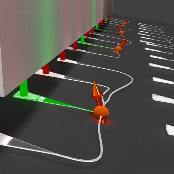 Color centers in nanodiamonds (orange, arrow indicates spin orientation) are optically excited with a laser (green) via nanophotonic waveguides on a silicon chip (dark gray) and emit single photons (red) into collection waveguides (light gray) that interface with an optical fiber array (left).<address>© P. Schrinner/AG Schuck</address>