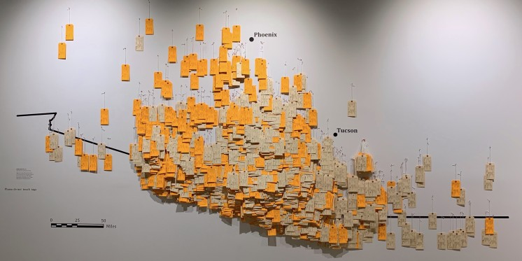 The heart of the exhibition is the installation of over 3,200 &quot;toe tags&quot;.<address>© Undocumented Migration Project</address>